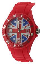 England Union Jack Quartz Dial Unisex Fashion Rubber Red Strap Watch UJ11D
