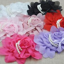 U Pick Big Chiffon Rose Flower Pearls Headband-Wedding Appliques  7 Colors A0182