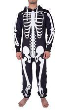 New Mens Unisex Zipped Skelton Halloween Skull Bones All In One Jumpsuit