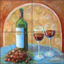 Wine Art Tile Backsplash Margosian Ceramic Mural Grape Tasting Cellar JM121