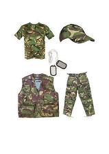 KIDS ARMY FANCY DRESS COSTUME SET - NEW - DPM WOODLAND CAMO - FREE U.S GLOWSTICK
