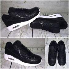 GLITZER AIR Sneakers / Sportschuhe mit WEISSER Sohle SCHWARZ