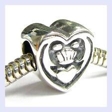 Sterling Silver Celtic Friendship Claddagh Heart Bead f/ European Charm Bracelet