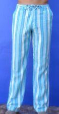 Men's Linen Yoga Pants - Draw String for Summer Comfort - Striped Blue & White