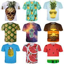 New Women Men Pineapple Fruit Funny Print Casual 3D T-Shirt Short Sleeve Tee