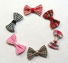 "(12) mini Check Plaid Gingham bows  Appliques 1"" crafting dolls Fast US Shipping"