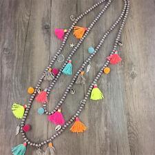 Nepal Ethnic Long Tassel Shell Indian Hippy Pom Pom Beaded Necklace Tribal Boho