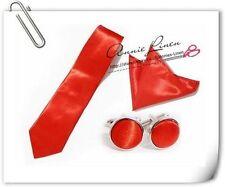 Annie High Quality Wedding Plain Solid Satin Tie+Hanky+Cufflinks 25 Colors Stock