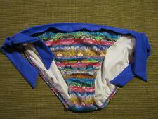 OP Bikini Swimsuit Bottoms Tie Side Shimmer Peacock Hearts Juniors L 11-13