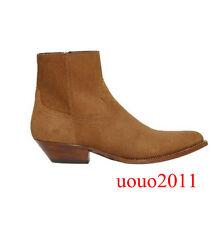 Mens Chelsea Vintage Ankle Boots Zipper Low Block Heel Pointy Toe Western Shoes