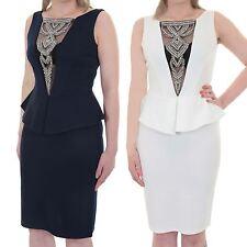 Womens Sleeveless Low Back Diamante V Neck Mesh Knee Length Peplum Dress
