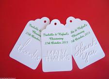 10 White  Gift Tags bomboniere wedding christening EMBOSSED Personalised V9