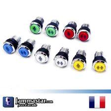 Lot de 2 Boutons Start arcade lumineux Chromés - Silver LED buttons