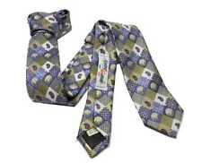 CRAVATTA slim blu con microdisegni paisley e quadretti stile retro Cravatta fine