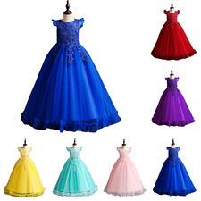 Kids Girls Tulle Wedding Dress Bridesmaid Party Princess Prom Birthday Dress Bow