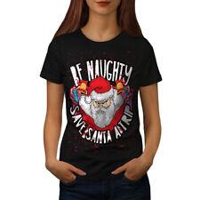 Naughty Santa Christmas Women T-shirt S-2XL NEW | Wellcoda