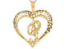 10k or 14k Real Gold Filigree Beautiful Heart Letter P Initial Slide Pendant