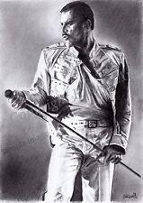 A4 A3 A2 Freddie Mercury Queen Art Print of original pencil drawing - RussellArt