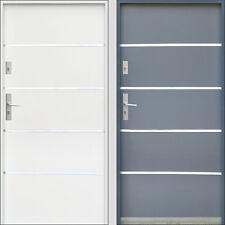 Porte d'entrée en acier extérieure 2070x890/2070x990 INOX blanc anthracite