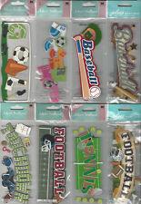 U CHOOSE  Assorted Jolee's SPORTS TITLES 3D Stickers tennis baseball soccer