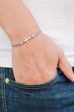 Cross bracelet silver womens jewelry charm gray christian catholic gift for her