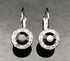 METALLIC BLACK GREY Austrian Crystal Earrings Silver Wedding Formal Long Dangle