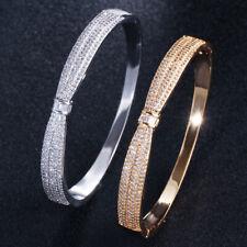 CWWZircons Luxury Yellow Gold Round Open Cuff Bangles Women Jewelry Accessories