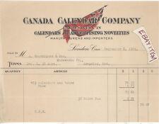 1921 BILLHEAD LONDON ONTARIO CANADA CALENDAR COMPANY FLAG ADVERTISING CANADIAN
