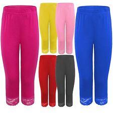 New Ladies Plus Size 3/4 Lace Trim Leggings 12-26