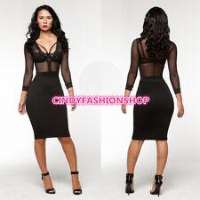New Sexy Women Bodycon Bandage V-Neck  Mesh Patchwork Slim Party Evening Dress