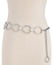 Steve Madden Womens Circle-Link Chain Belt (Silver)