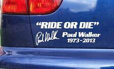 Paul Walker RIDE/SCHABLONE Tribut Andenken RIP Stoßdämpfer