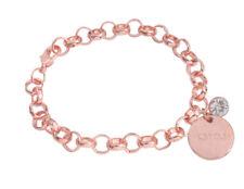 Fashion Rose Gold Karma Rhinestone Charm Chain Bracelet #91734