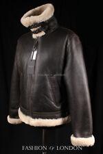 Men's Shearling Sheepskin Jacket AIR FORCE B3 White Genuine Fur Pilot Jacket