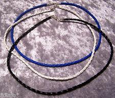 Lederband Halsband geflochten mit Karabiner schwarz weiss blau braun #