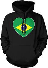 Brazil Heart Flag Soccer República Federativa do Brasil Futbol Hoodie Pullover