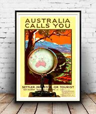 Australia calls you,  Reproduction book advertising poster, Wall art.