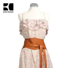 BOSS Damen Sommer Kleid mit Leder Gürtel Millefleur Orange Collection Neuheit