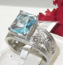 K081 Aqua Marina corte de la esmeralda simuladas Diamante Anillo Acero Inoxidable para Mujer