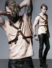 Débardeur t-shirt steampunk gothique sangles cuir harnais vintage Punkrave homme