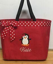 Personalized Baby Girl Diaper Bag Tote Monogrammed Penguin Girl