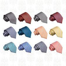 Men's Thin Stripe Woven Microfibre Tie - Evening, Work & Special Occasion DQT