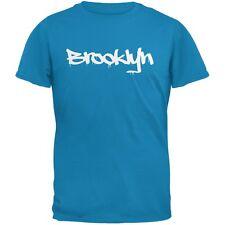 New York City Brooklyn Graffiti Sapphire Blue Adult T-Shirt