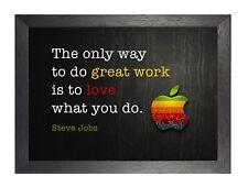 Steve Jobs 4 motivación inspiración cartel Gran Trabajo Amor Cita Foto Apple