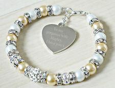 personnalisé charme du cœur meilleur femme bracelet gravé Anniversaire Cadeau
