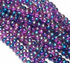 "G2298 Light Fuchsia Purple 6mm Round Metallic Drawbench Swirl Glass Bead 32"""