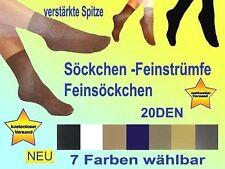 1 Paar Feinstrümpfe Söckchen Feinsocken Feinsöckchen Socken  20 DEN NEU 7 Farben