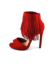 Vibrant Red  Hot Sexy Dangling Fringe Cuffed Mini Platform Stiletto Dress Heels