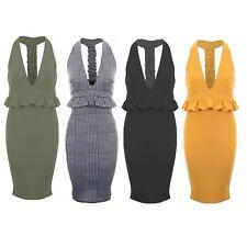 Womens V Neck Plunge Sleeveless Midi Frill Ruffle Peplum Bodycon Stretch Dress