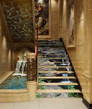 3D lake stairs stone art Risers Decoration Photo Mural Vinyl Decal Wallpaper CA